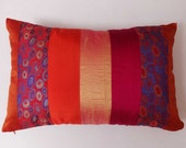 Gold, Orange and red silk panels  pillow cover. Deceretive  oblong  pillow. 12 X 20 instock