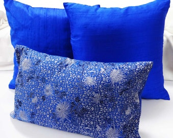blue  floral  banaras silk  decorative pillow cover. Cobalt blue cushion cover  12x20  boudoir pillow cover boho chic long pillow cover
