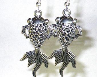Fish earrings. Japanese koi fish jewelry. Fancy fish earrings. Fantail goldfish. 3D koi. Silver tone dangle earrings. Gift for her.