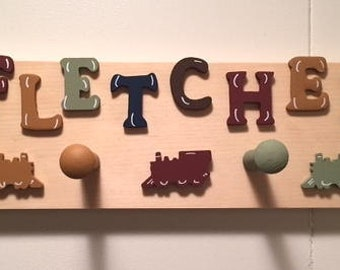 Personalized 4 peg peg rack for children - Earth Tones