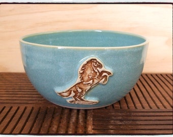 Beautiful Turquoise Bowl with Horse Decoration by misunrie