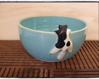 Turquoise Bowl with Cute Tuxedo cat by misunrie