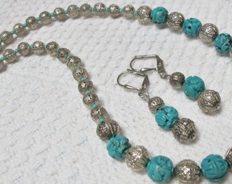 Gorgeous Filigree Turquoise & Sterling Silver a MUST SEE