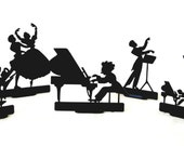 Vintage 50s DECO Style Set of 5 Plastic Silhouettes Musical Orchestra Theme Community Concerts