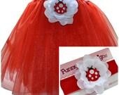 Puffy Ladybug  Baby Tutu & Matching Cotton Headband Set