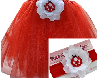 Puffy Ladybug  Baby Tutu & Matching Cotton Headband Set