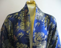Vintage Blue and Gold House Robe