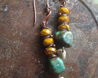 Artisan Handmade Gypsy Earrings Colorful Gemstone Shell Turquoise Yellow Copper Rustic Nature Fashion Over Forty