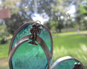 Silver Palm Tree Flipflop Suncatcher