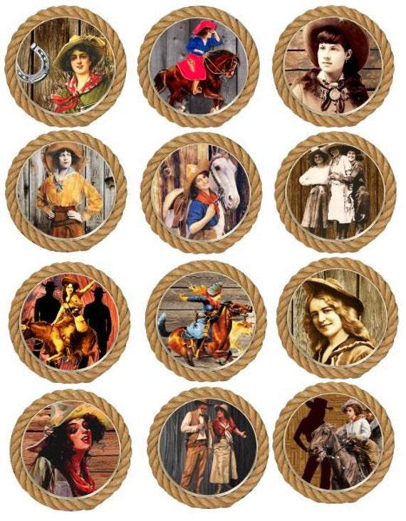 vintage cowgirls horses rope frames 2.5 inch circles clip art digital download collage sheet country western for pocket mirrors pins cards
