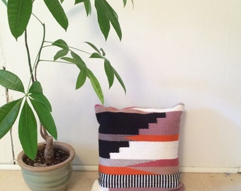 Hand Woven Wool Pillow : The Tabor Summer in Orange