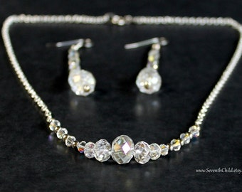 Crystal Necklace and Earring Set - Graduated Crystal Bead Necklace and Long Dangle Earrings - New Years Eve - Special Occasion Set