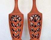 Pair of Orange Mid Century Lamps