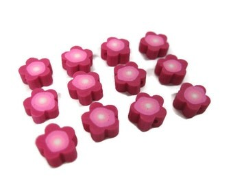 8mm Fimo Polymer Clay Flower Beads set of 12