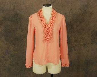 vintage 70s Blouse - Sheer Pink Chiffon Blouse - 1970s Ruffled Deep V Neck Shirt Sz S