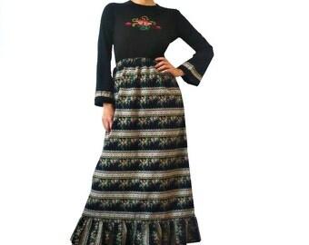 French Vintage 70s Black Maxi Floral Dress