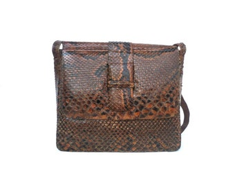 French Vintage Snake Skin Satchel / Shoulder Bag