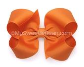"""Pumpkin Hair Bow, 4 inch Boutique Bow, Pumpkin Pie Bow, Fall Pumpkin Orange Bow for Women and Girls 4"""" Hair Bow No Slip Hair Bow"""