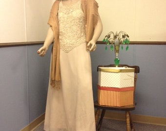 1970s  Beige Gown with Braid and Pearl Bodice Size Large
