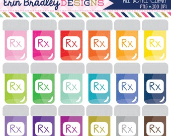 Pill Bottle Clipart Graphics Pharmacy Medication or Doctor Clip Art Graphics Personal & Commercial Use