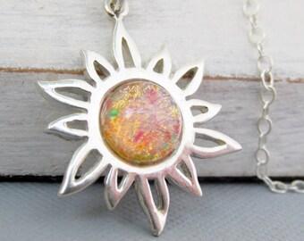 Sterling Silver Sun Charm Necklace, Sun Pendant Necklace, Opal Necklace, Opal Jewelry, Sun Lovers, Sun Jewelry, Sterling Sun Charms,
