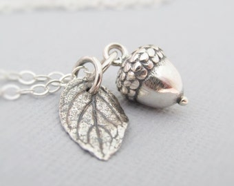 Acorn Necklace, Sterling Silver Acorn Pendant Necklace, Oak Leaf And Acorn Necklace, Autumn Lovers, Gifts For Her, Tiny Acorn Charm