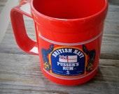 Bright Orange British Navy Pusser's Rum Plastic Mug