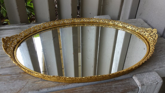 Gold Tone Vanity Lights : Oval Gold Tone Mirrored Vanity Tray by myrobynsnestboutique