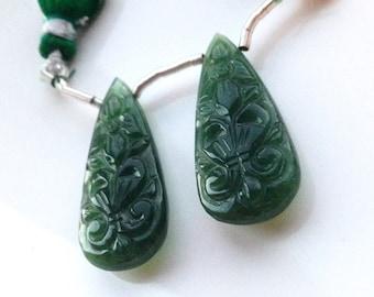 Large Gorgeous Serpentine Jade Carved Briolette Pair
