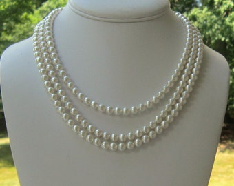 Jackie O Pearl Necklace Triple Strand, Pearl Bridal Necklace, Bridal Jewelry, Wedding Jewelry, Chunky Pearl Necklace,Coco