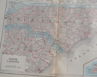 1898 State Map North Carolina - Vintage Antique Map Great for Framing 100 Years Old