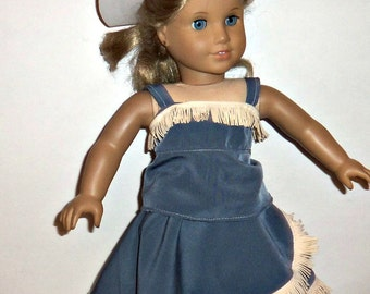 Western Outfit, 18 inch Doll, Cowgirl Hat, White Boots, American Made, Girl Doll Clothes, Costume, Fringed Skirt, Blouse, Accessories