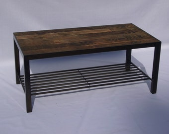 Recycled Wood Coffee Table With Shelf