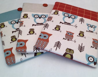 "Macbook air 13  padded sleeve /macbook air 13""retina cover /  Made in Maine /  choice of color and closure / hootie owl"