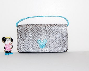 Vintage Mickey Party Purse Grey and Aqua