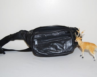 Vintage Fanny Pack Hipster Black Leather
