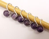 Genuine Amethyst Mobius ring stitch markers