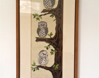 SALE Japanese Needlepoint 3 Owls Professionally Framed Kato Gallery Tokyo