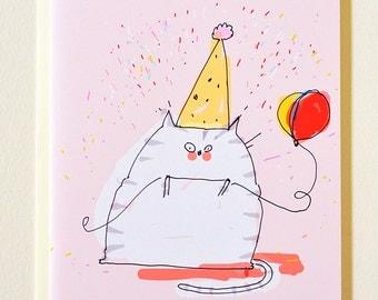 Pink Birthday Cat Card - Funny Birthday Card - Cat Birthday