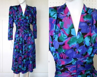 Shades of Blue and Pink Cindy Brand Polyester Long Sleeve V Neck Vintage Dress