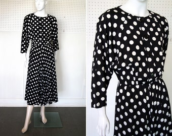 Vintage Black and White Polka Dot Flow-y Midi Length Bat Wing Dress