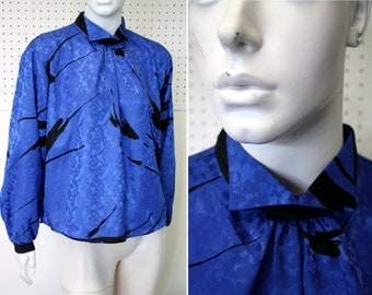 Black and Blue Abstract Print Funky Collar Button Back 80's Vintage Woman's Blouse