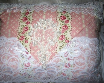 Pink Beige Lace Decorative  Pillow Shabby Chic Style Victorian  Roses Design Beaded Applique White Lace Overlay Complete