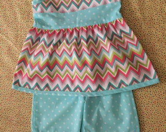 Summer Top and Capris Chevron Size 4 CLEARANCE PRICE