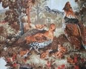 Vintage Fabric - Pheasants, Forest, Woodlands - Large Panels