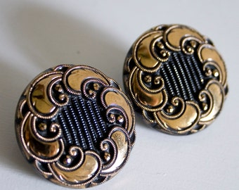 Black and Gold Glass Clip On Earrings