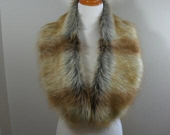 Faux Fur COLLAR,  Women's Fur Neckwarmer, Fox Gold Tip Fur Collar, Fox Faux Fur Collar