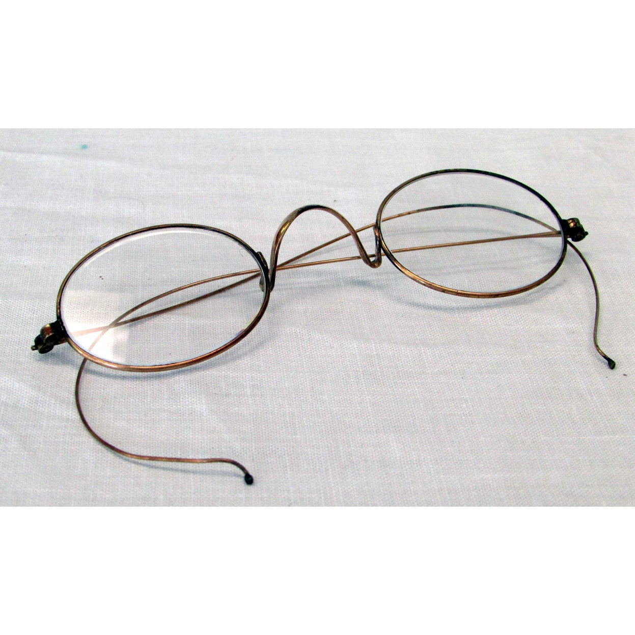 Glasses Frames Saddle Bridge : Civil War Reenactor Oval Wire Rim Eyeglasses Saddle Bridge