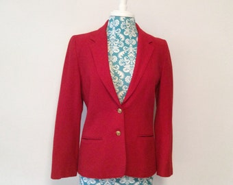vintage red jacket blazer // 1980s nautical anchor buttons // fitted wool jacket