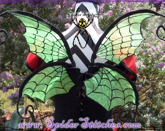 Durable Wearable Green Witchy Spider Web Wings by Spider Stitches